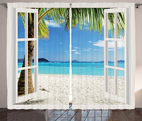 Ambesonne Turquoise Curtains Decor, Tropical Palm Trees on Island Ocean Beach Through White Wooden Windows, Living Room Bedroom Window Drapes 2 Panel Set, 108 W X 84 L Inches, Blue Green and White