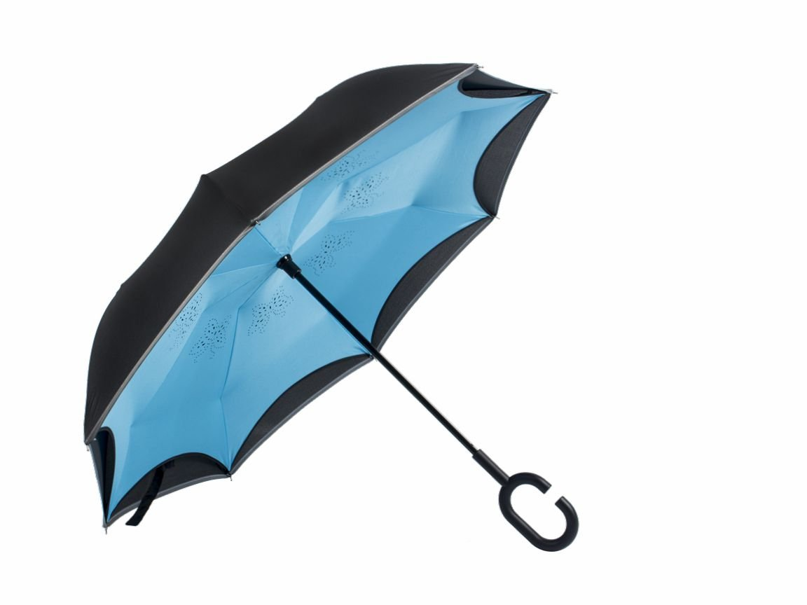Inverted Umbrella, Reflective Stripe, Double Layers Reverse Folding Umbrella Waterproof, Windproof and Sunproof, Innovative C Shaped Handle and Self Standing