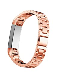 Watch Band, ABC Luxury Stainless Steel Wrist strap Watch Band for Fitbit Alta Smart Watch (Rose Gold)