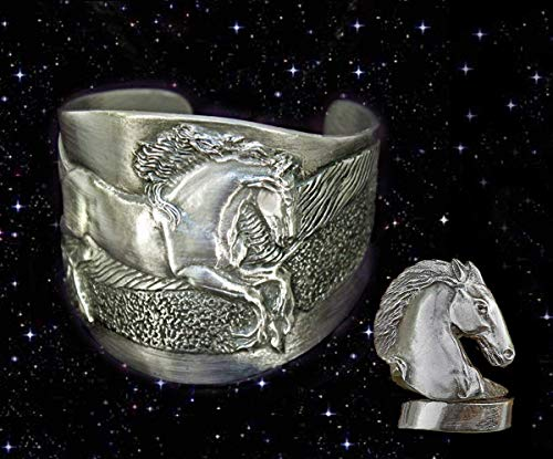 Horse Lady Gifts Friesian Horse Cuff & Ring Gift Set