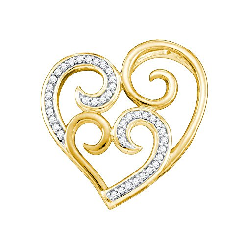 Yellow-tone Sterling Silver Womens Round Diamond Curled Nested Heart Pendant 1/8 Cttw