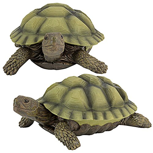 Design Toscano Gilbert The Box Turtle Garden Decor Animal Statue, 9 Inch, Set of Two, Polyresin, Full ()