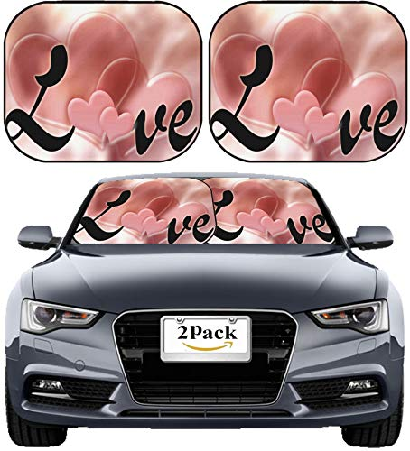 (MSD Car Sun Shade Windshield Sunshade Universal Fit 2 Pack, Block Sun Glare, UV and Heat, Protect Car Interior, Image ID: 6222085 Love Valentine Background Illustration with Pink Hearts)