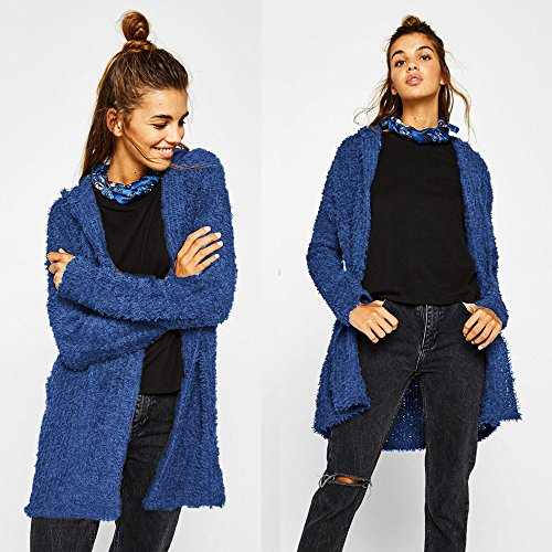 Winter Front Ladies Open Hooded Solid Autumn Cardigan MIRRAY Outerwear Overcoat Hoodies Long Loose Long Casual Size Sleeve Outwear Blue Large Womens Jackets Long 8zwqx5OIc
