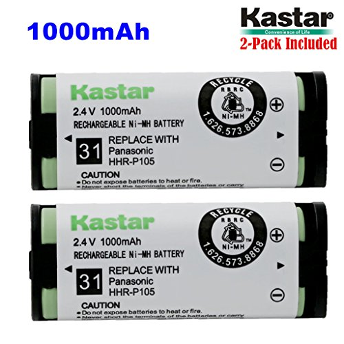 Kastar HHR-P105 Battery (2-Pack), Type 31, NI-MH Rechargeable Cordless Telephone Battery 2.4V 1000mAh, Replacement for Panasonic HHRP105 HHR-P105 HHRP105A HHR-P105A KX242 KX-242 KX2420 KX-2420 KX2421 KX-2421 KX2422 KX-2422 KXTG5779 KX-TG5779 Dantona BATT105 BATT-105 Empire CPH508 CPH-508 GE 86420 Lenmar CB0105 CB-0105 Avaya 3920 Interstate ATEL0014, TEL0014, TEL-0014 3920 Wireless Telephone