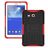 Galaxy Tab 3 Lite Case,T110 Case, Ngift [Red] Heavy Duty Dual Layer Hybrid Shock Proof Fully Protective [Kickstand] Case for Samsung Galaxy Tab 3 Lite 7.0 SM-T110 / T111
