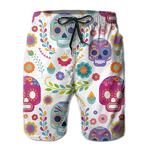 FANTASY SPACE Mens Breathable Swim Trunks for Beach Gym Sport Elastic Waistband Quick Dry Drawstring Board Shorts Summer Bathing Suits - Sugar Skull Versatile -