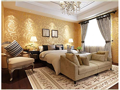 Wallpaper Golden Abstract Leaf Modern Non-Woven Wallpaper Poster Wall Decor for Hotel Office Living Room Kitchen