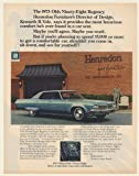 1973 Kenneth R Volz Henredon Furniture Oldsmobile Ninety-Eight Regency Print Ad (Memorabilia) (56966)