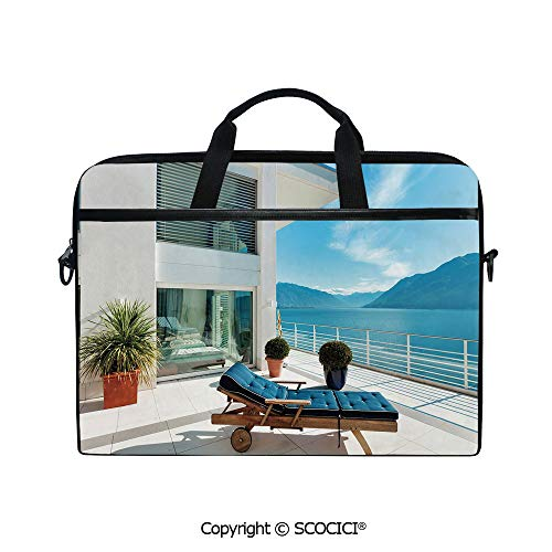 Printed Waterproof Laptop Shoulder Messenger Bag Case Lake House Patio Balcony with Mountain View Modern Design Home Decor Image for 15 Inch Laptop Notebook