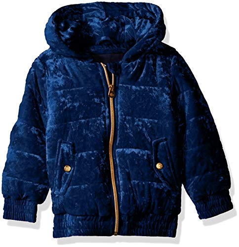 (Limited Too Girls' Toddler Quilted Velvet Bomber Jacket with Hood, Navy,)