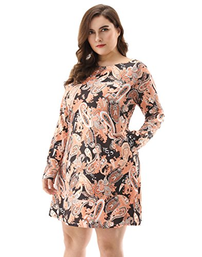 Charming Tunic Dress - OEUVRE Women's Plus Size Pocket Floral Stretch Casual Long Sleeve Tunic Dress Brown -14