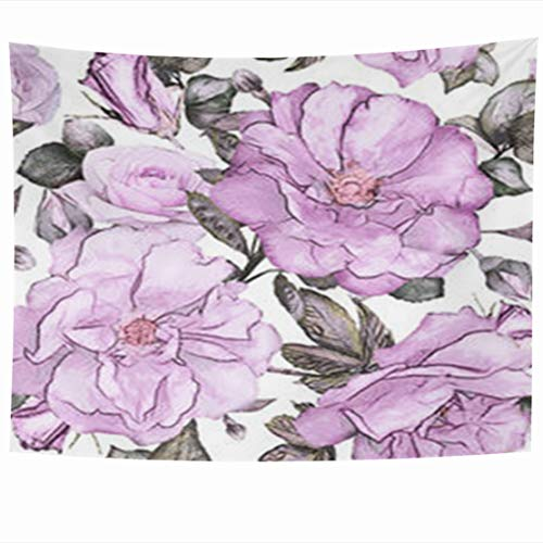 DaniulloRU Wall Hanging Tapestry 80 x 60 Inches Flowers Purple Leaves On Pink Vintage Abstract Gray Watercolor Floral Pattern Rose Pastel Color Decor Tapestries for Bedroom Living Room Dorm