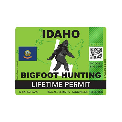 fagraphix Idaho Bigfoot Hunting Permit Sticker Die Cut Decal Sasquatch Lifetime FA Vinyl - 4.00 Wide
