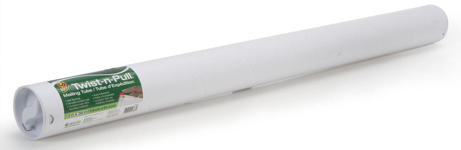 Duck Brand Twist-n-Pull Tamper-Evident Mailing Tube, 3 x 36 Inches, White (1163253)
