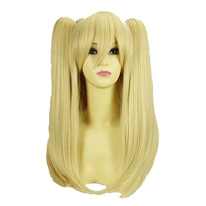 HOOLAZA Rubias largas y rectas con dos coletas Cosplay peluca Lolita Kobato Hasegawa Cosplay peluca