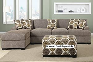 Verona Sectional Sofa Set in Faux Linen FInish (Slate sofa u0026 Chaise) : verona sectional - Sectionals, Sofas & Couches