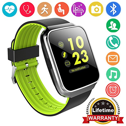 Qiwoo Fitness Tracker Smart Watch Phone with Blood Pressure Heart Rate Monitor for Women Men Kid 1.55″ Color Screen Activity Sports Watch GPS Tracker Pedometer Calorie Sync Call SMS for Android iPhone