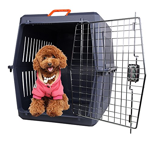 Lucky Tree Airline Approved 4 Size Pet Carrier Kitty Travel Cage Plastic Lightweight and Safe to Carry for Puppy Bunny Cats, 2 Color