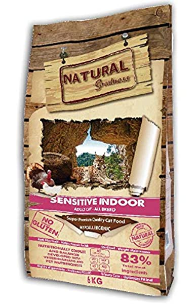 Natural Greatness Pienso seco para Gatos Receta Sensitive Indoor. Super Premium- Adult Cat- Todas Las Razas- 6 kg: Amazon.es: Productos para mascotas