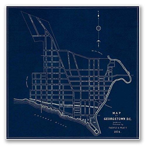 Blueprint MAP of GEORGETOWN, Washington DC circa 1874 - meas