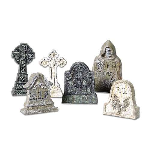 Tombstone Halloween Decorations (Department 56 Village Tombstones St/6)