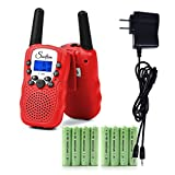 Swiftion Rechargeable Kids Walkie Talkies 22 Channel 0.5W FRS/GMRS 2 Way Radios with Charger and Rechargeable Batteries (Red, Pack of 2)