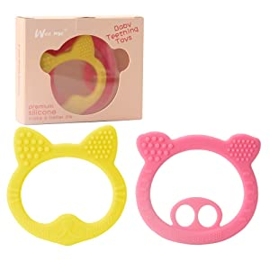 Baby Teething Toys 2 Pack - BPA Free Natural Organic Freezer Safe Teethers Set for 3 to 12 Months Babies (Pink Yellow)