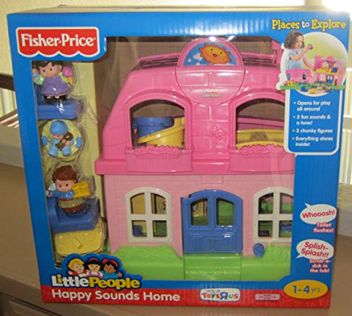 Fisher Price Little People Happy Sounds Home (PINK) w Sounds & 3 Figures - ToysRUs Exclusive (2009)
