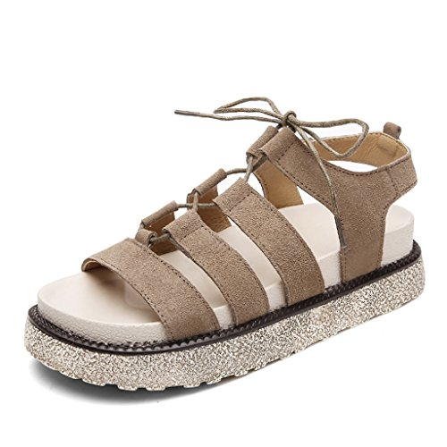 Casual Bottom Khaki Shoes Flat Bottom Flat Thick Roman 38 ZCJB Shoes Sandals Open Female Summer Khaki toe Color Female Size nxRH6znwF8
