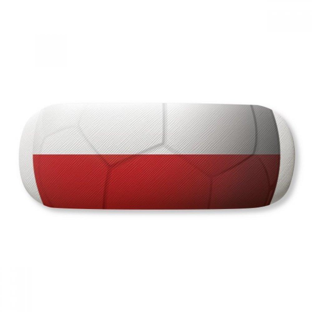 Poland National Flag Soccer Football Glasses Case Eyeglasses Clam Shell Holder Storage Box