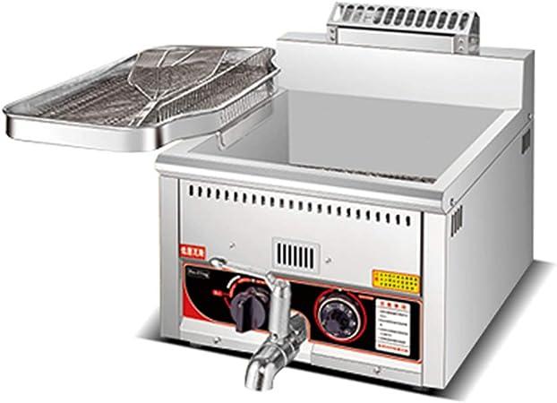 frying pan Freidora De Gas Comercial, Sartén De Acero Inoxidable Y La Válvula De Regreso A La Temperatura De Diseño Inteligente De Ventilación: Amazon.es