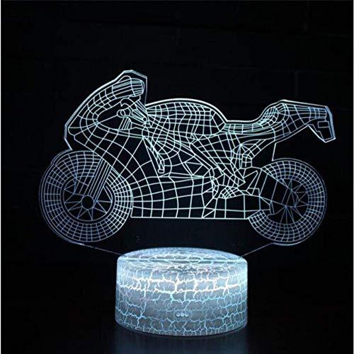 Luces de humor Moto Motocycle Color cambiable LED 3D Ilusión Visual Luz nocturna Creativo Dormitorio Decoración Luz…