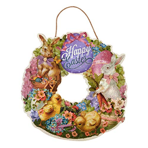 "XL 20"" Retro Easter Wreath, Die Cut Vintage Easter Wreath for Front Doors and Walls, Wood Easter Decor, Bunny, Chicks, Flowers, Eggs, Ribbons (Happy Easter Wreath)"