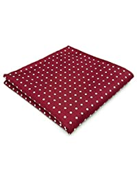 "shlax&wing Men's Hanky 12.6"" Dots Red Pocket Square"