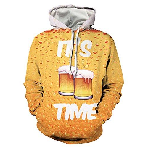 Hoodie Beer Sweatshirt Mens (Mens Hoodies Pullover 3D Wolf Printed Sweatshirt (XL, Beer))