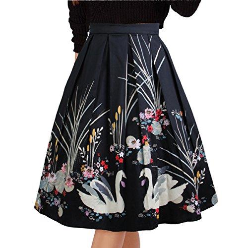 ted Vintage Skirts Floral Print Casual Midi Skirt Color-4 L (Pleats Polka Dots Skirt)
