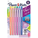 Paper Mate Flair Felt Tip Pens, Medium Point, Assorted, Special Edition Retro Accents, 12 Pack
