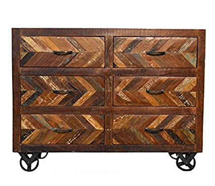 Merveilleux Reclaimed Industrial Sideboard Buffet Table On Iron Wheels