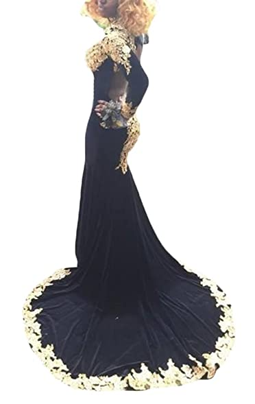 2017 Gotidy Sexy High Neck Gold Lace Black Velvet Long Sleeve Girls Prom Dresses