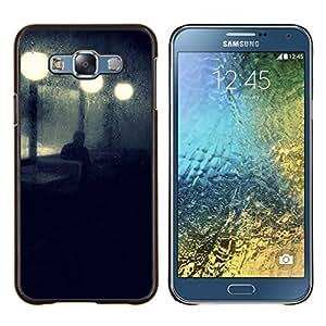 Calle de la noche luces de la lámpara azul triste- Metal de aluminio y de plástico duro Caja del teléfono - Negro - Samsung Galaxy E7 / SM-E700