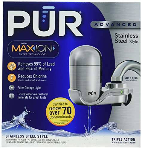 PUR Stainless Steel Style Faucet Mount & 1 Mineral Clear Water Filter
