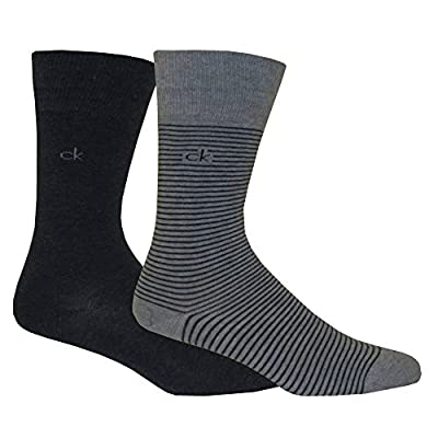 Calvin Klein 2-Pack Fine Stripe Flat-Knit Men's Socks, Denim/Grey Heather