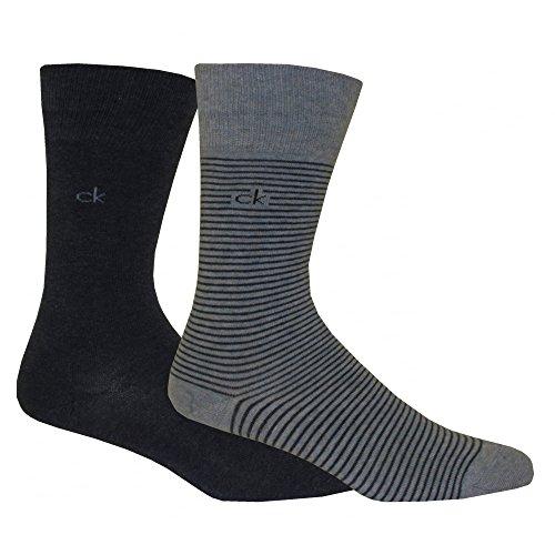 Calvin Klein Men's 2-Pack Fine Stripe Flat-Knit Socks, Denim/Grey Heather Medium/large Denim/grey (Calvin Classic Dress Socks)