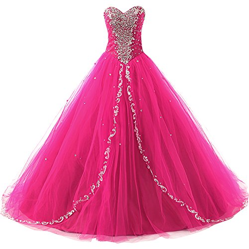 a4f1d2b78ee JAEDEN Wedding Sweetheart Long Quinceanera Dresses Formal Prom Dresses Ball  Gown Hot Pink US16W