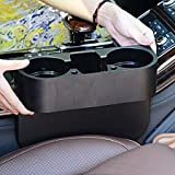 AREO (Black)Car Seat Organizer, Leather Seat Side Pocket, Gap Filler Catcher, Car Seat Multi-fuctional Storage Box with Coin Money Beverage and Cup Holder & Android Data Line (Black, Right Side) (IN36-003)