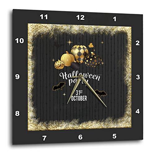 3dRose Beverly Turner Halloween Design - Designer Pumpkins, Leaves, and Bats, Halloween Party, October 31, Gold - 10x10 Wall Clock (DPP_300620_1)]()