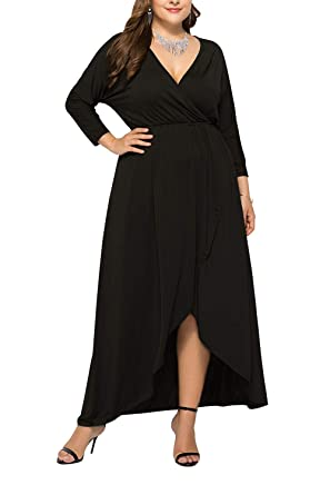 dc56a52371e Meenew Women s Wrap V Neck Flowy Party Maxi Dress Plus Size Long Dress Black  XL