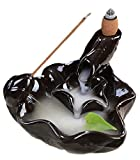 SPJ: Ceramic Backflow Incense Tower Burner Holder Lotus Flower Pond Meditation Relax Time Aroma Goods