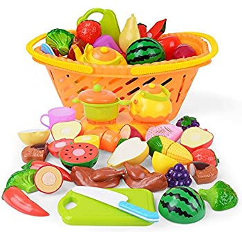 NextX Play Food Cutting Fruits Pretend Food Set Kitchen Toy for Kids 20 Piece